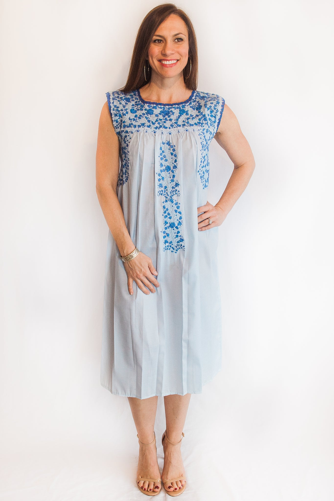 Light Blue Gingham with Blue Felicia Dress-S