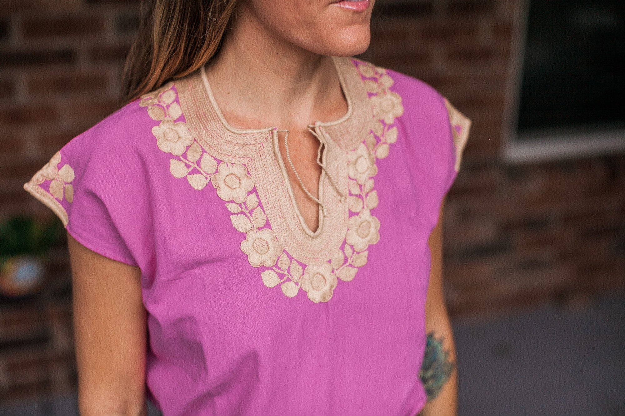 Magenta with Beige Chamula Blouse