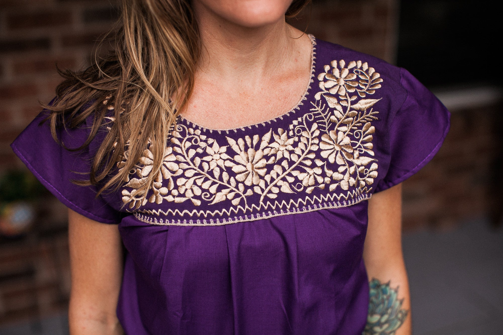 Purple with Gold Puebla Blouse