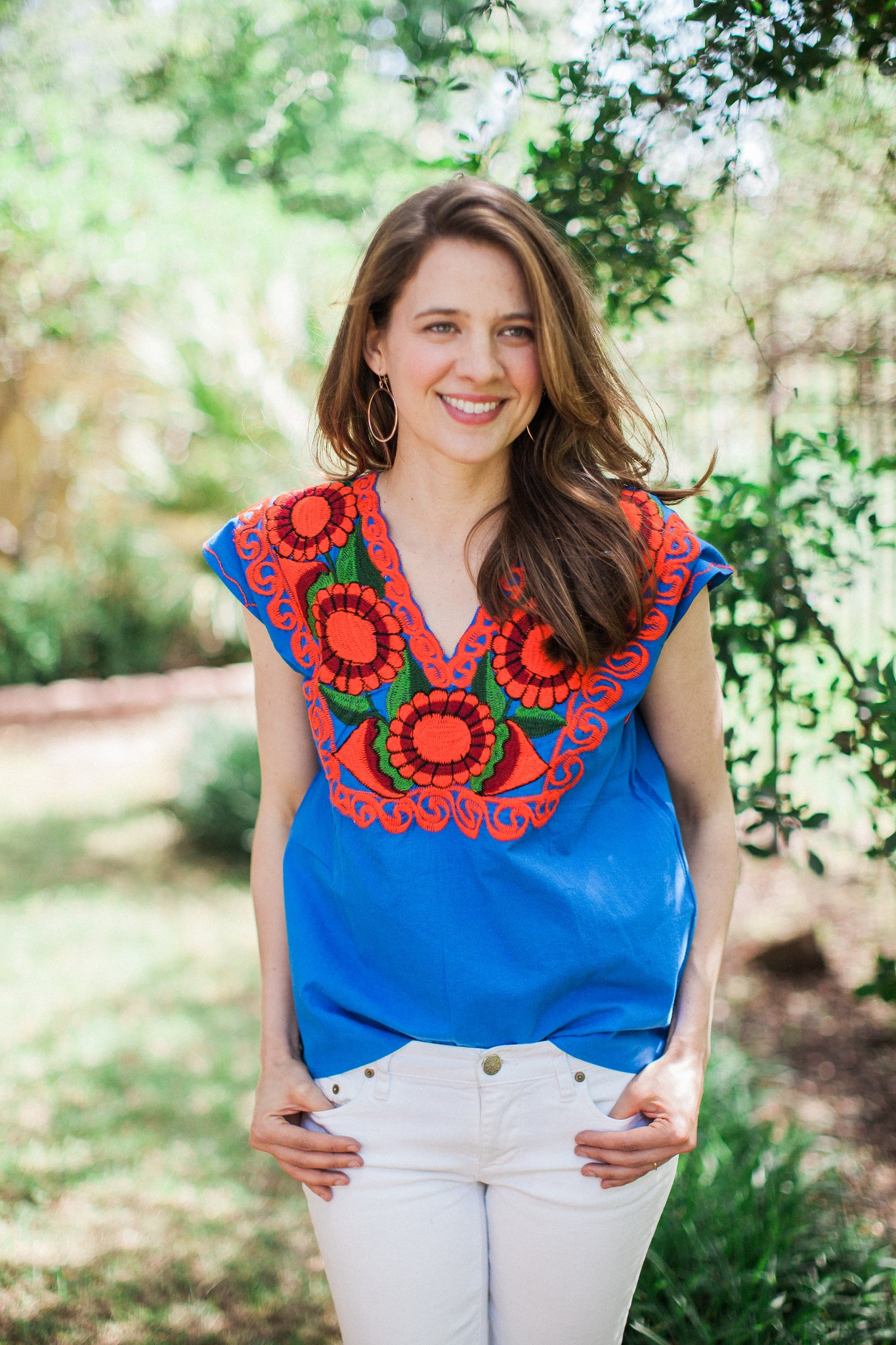 Royal Blue with Orange La Bohemia Blouse