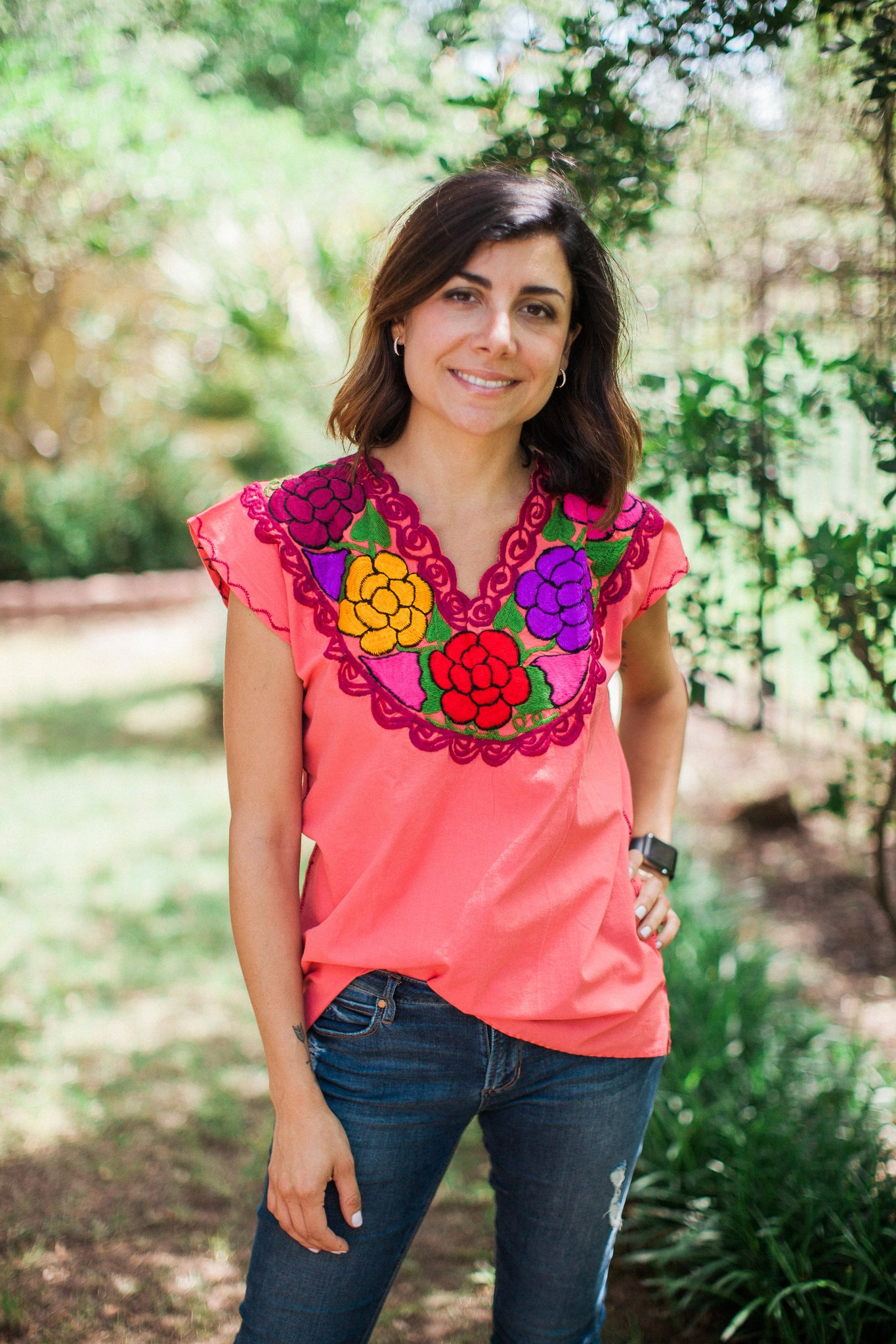 Coral with Multicolor La Bohemia Blouse