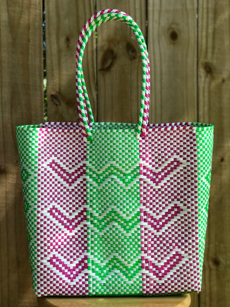 Pink, Green and White Woven Tote