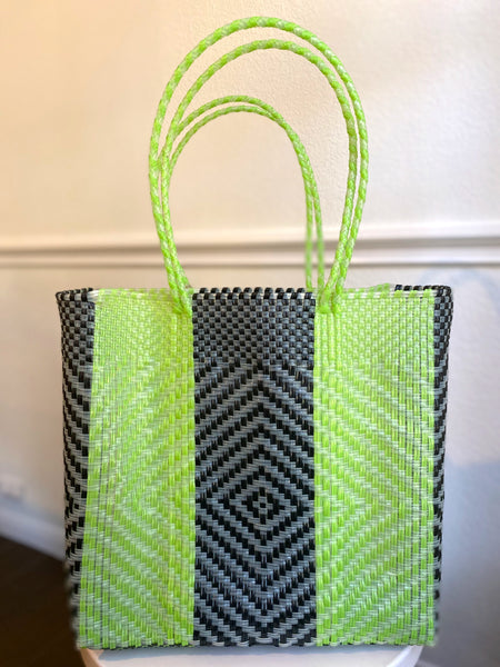 Lime Green, Black and Silver Woven Tote