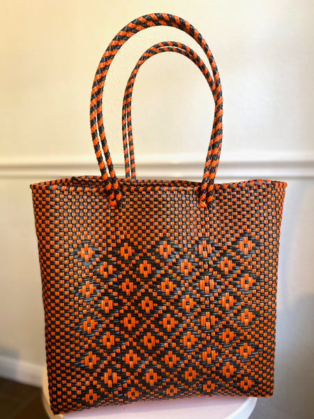 Orange and Black Woven Tote