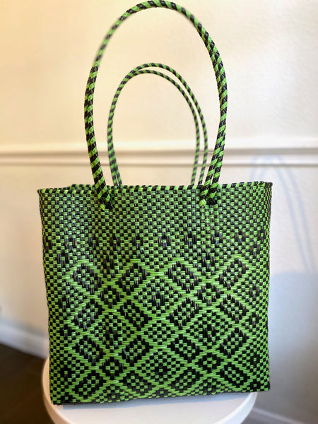 Green and Black Woven Tote