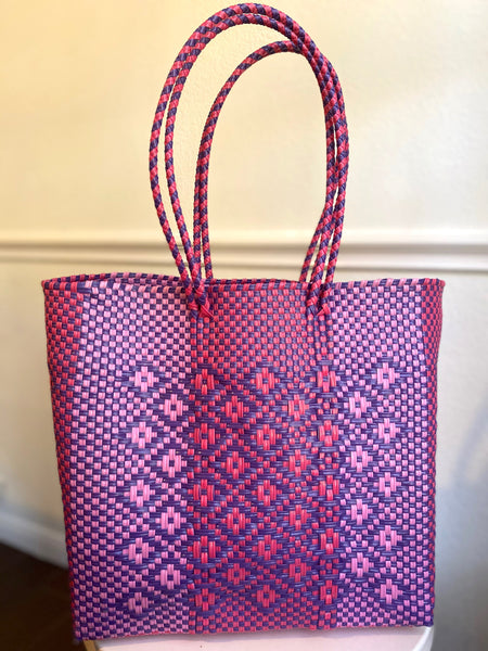 Pink and Purple Woven Tote