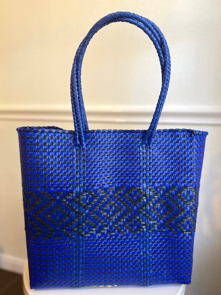 Blue and Black Woven Tote