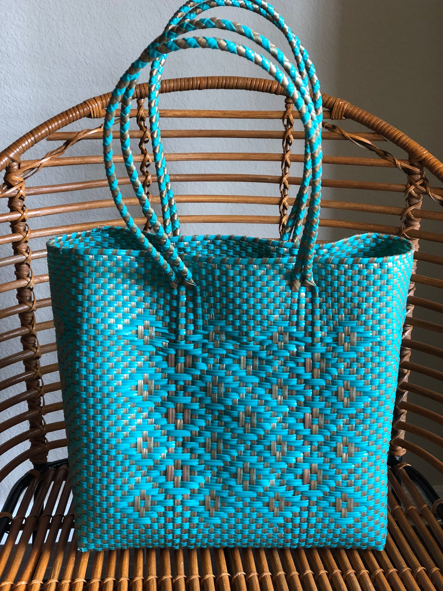Medium Turquoise and Gold Woven Tote
