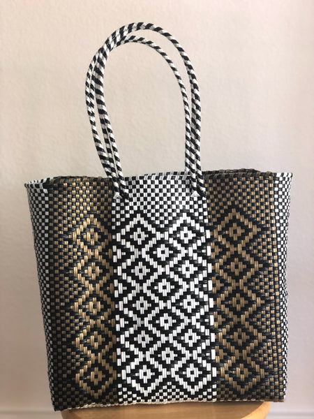 Black, White and Gold Woven Tote