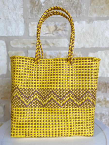 Yellow and Tan Woven Tote