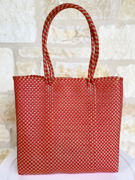 Red and Gold Woven Tote