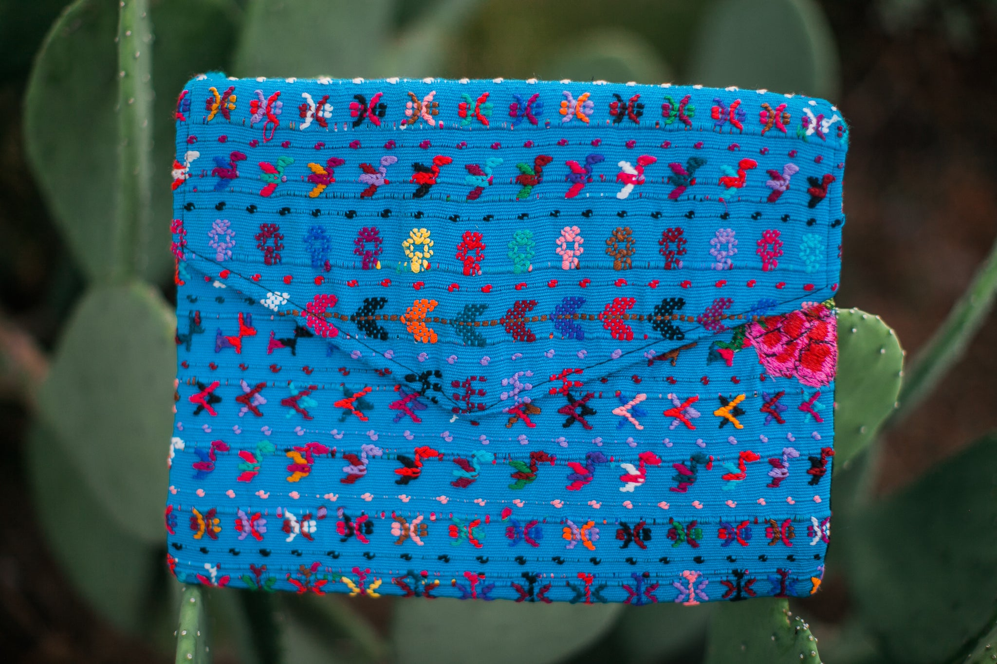 Blue Huipil Clutch