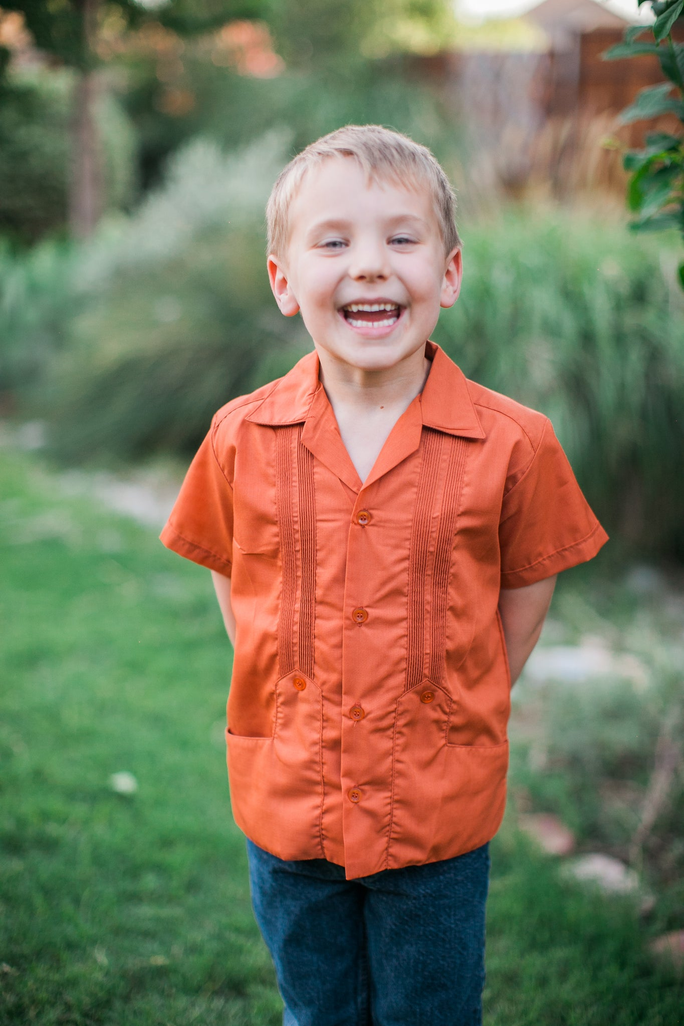 Boy's Traditional Burnt Orange Guayabera