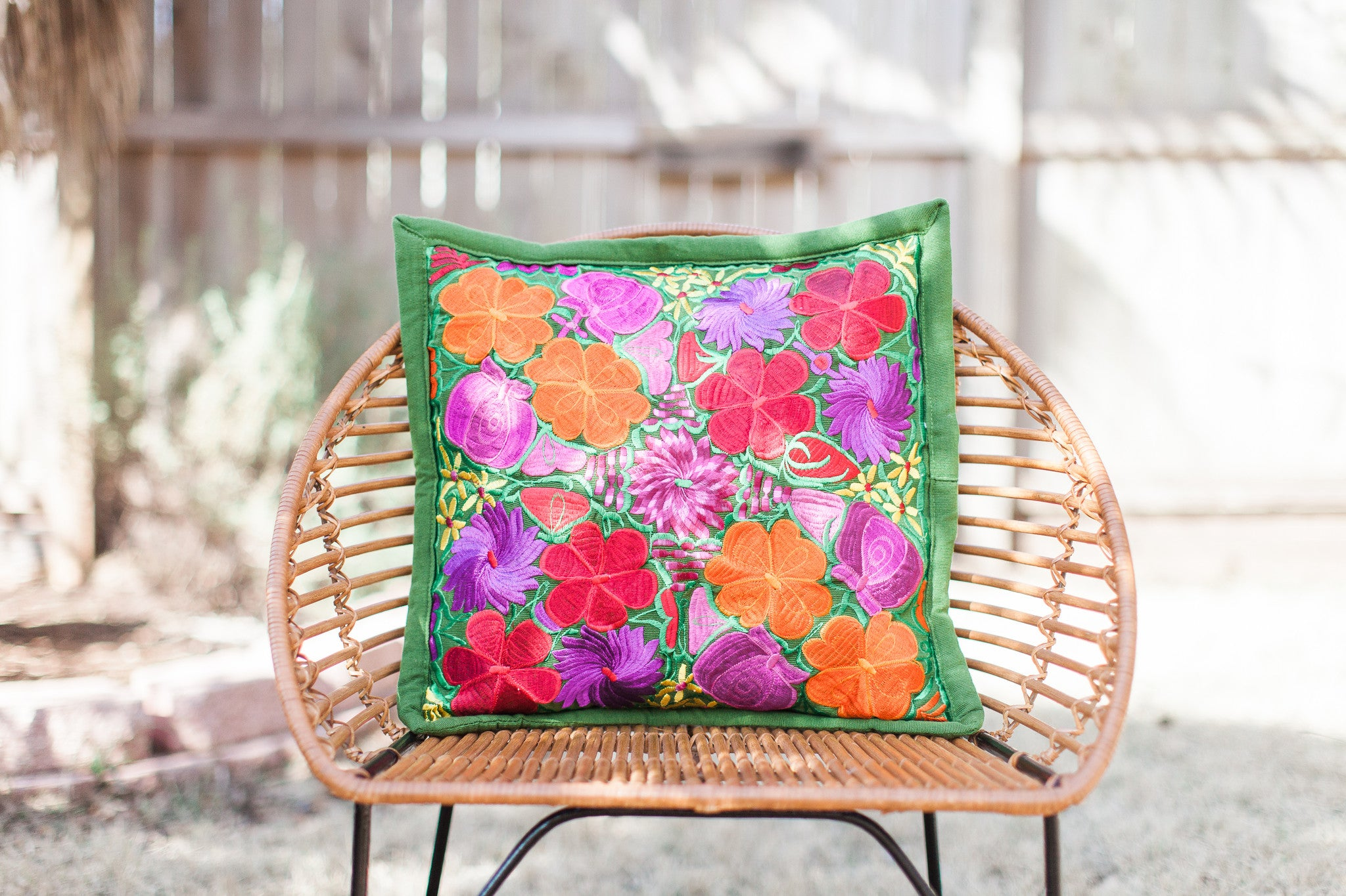 Green with Multicolor Frida Pillow