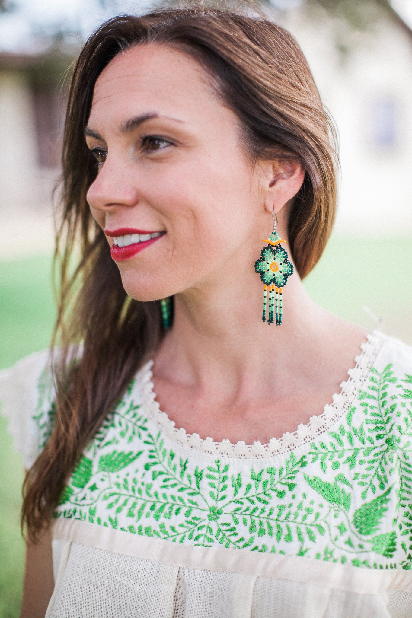 Medium Green and Yellow Bead Earrings