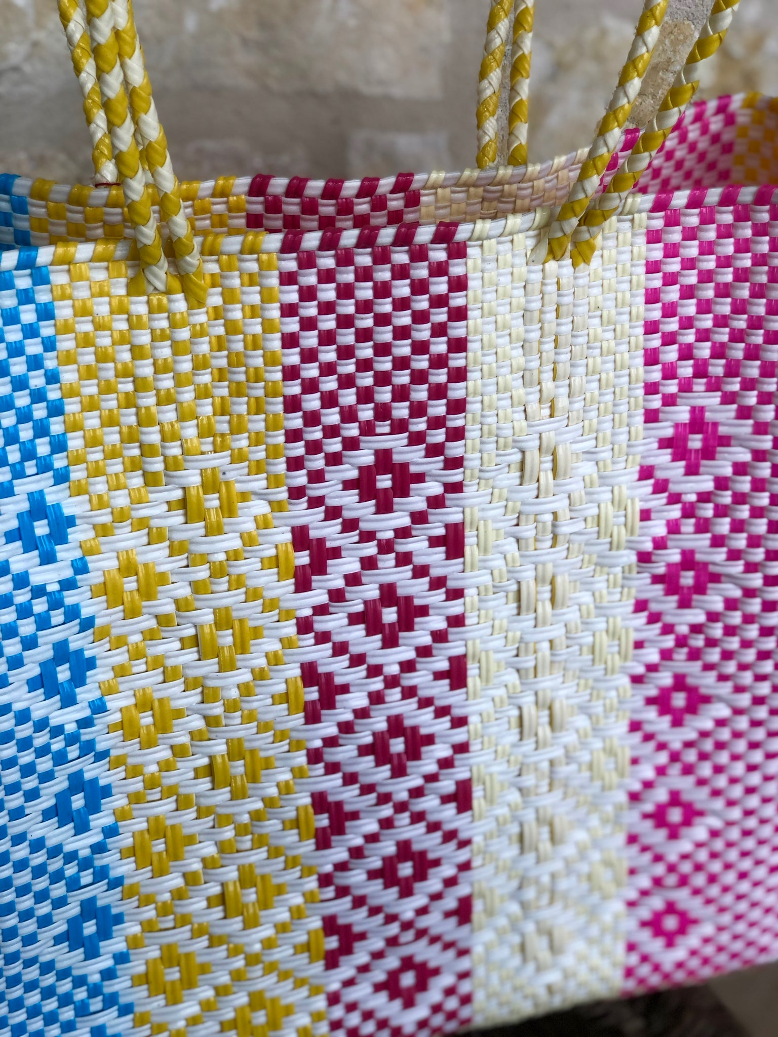Blue, Yellow and Magenta Woven Tote