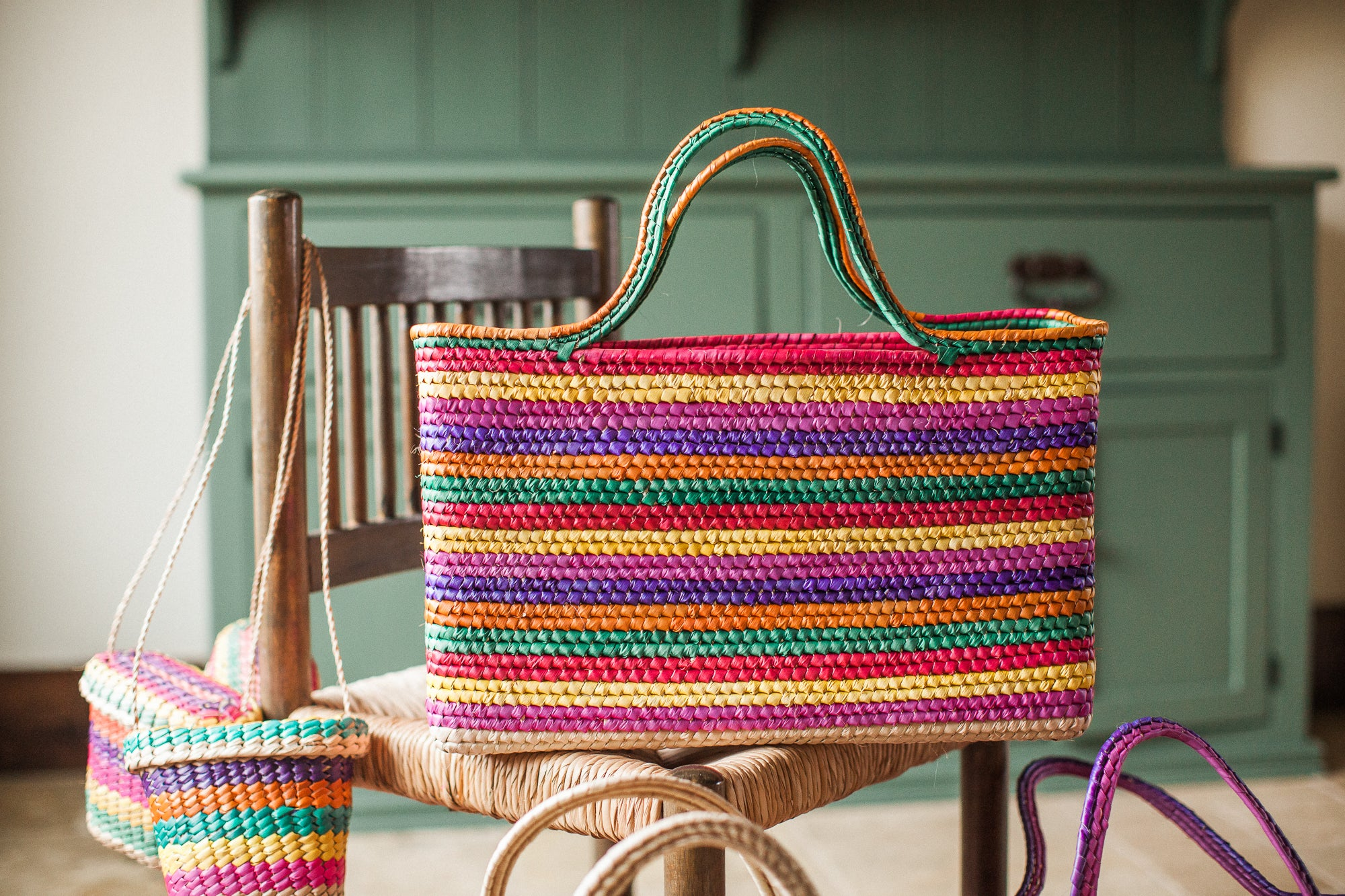 Colorful Palm Leaf Tote