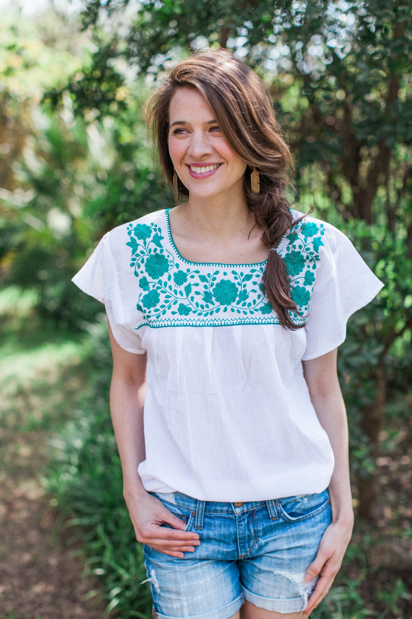White and Green Puebla Blouse