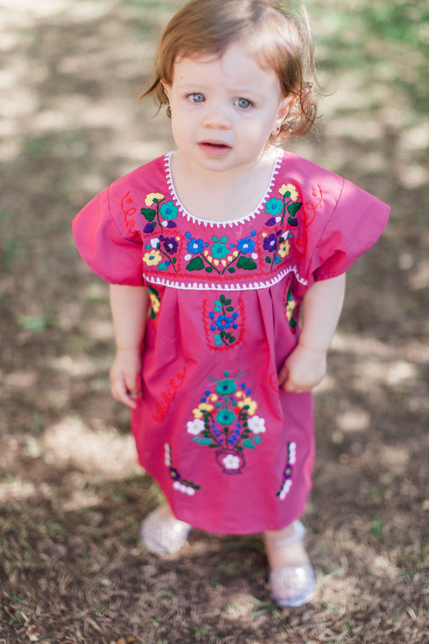 Girl's Fuchsia Puebla Dress