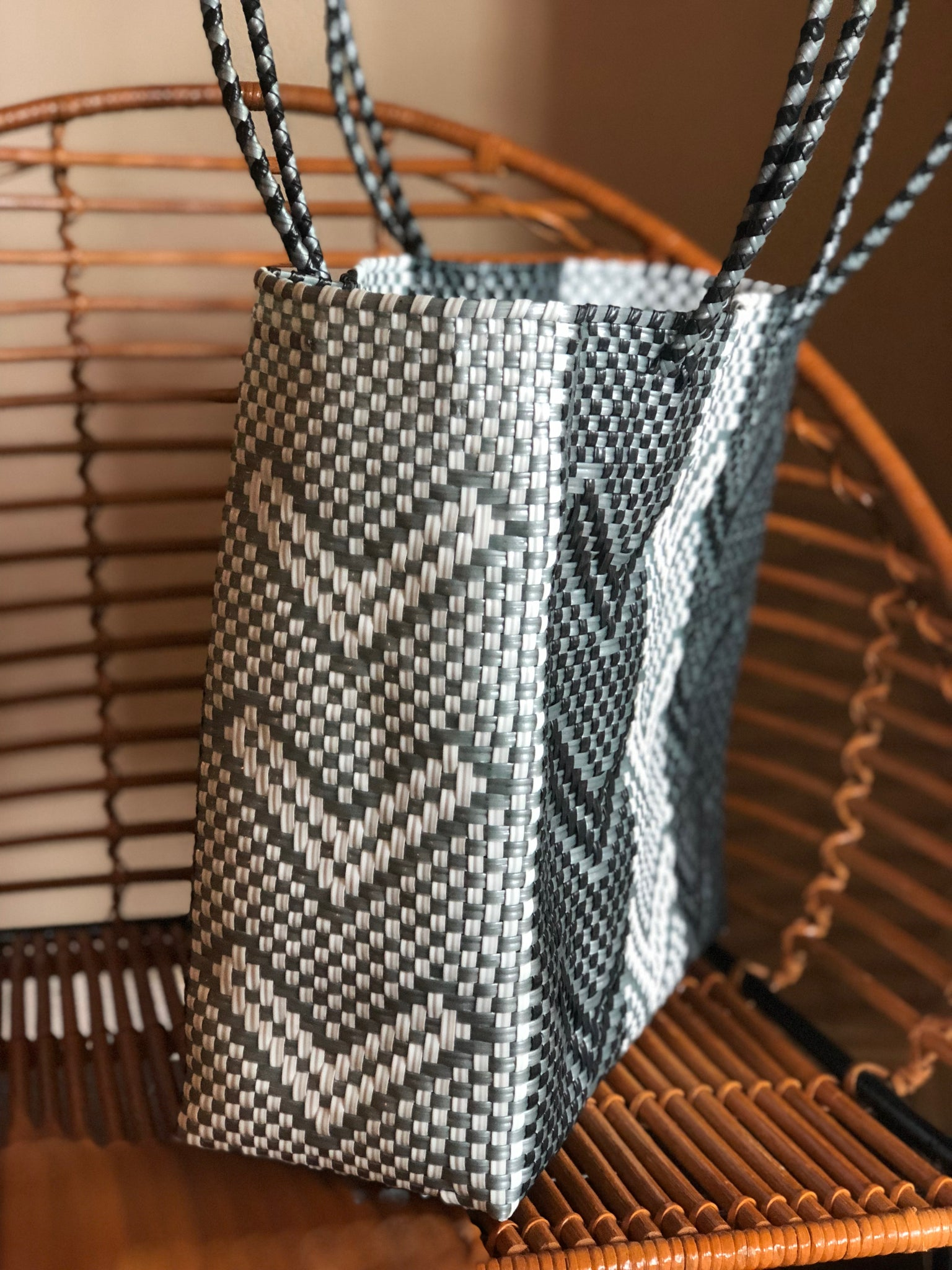Large Black, White and Gray Woven Tote