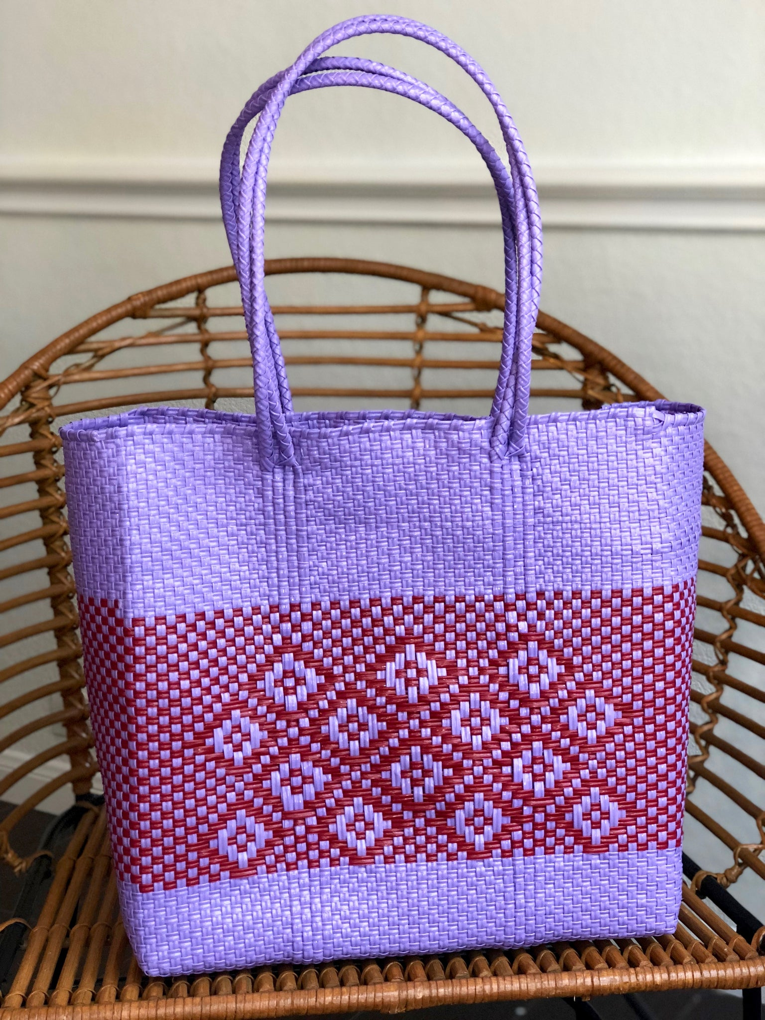 Large Lavender and Red Woven Tote