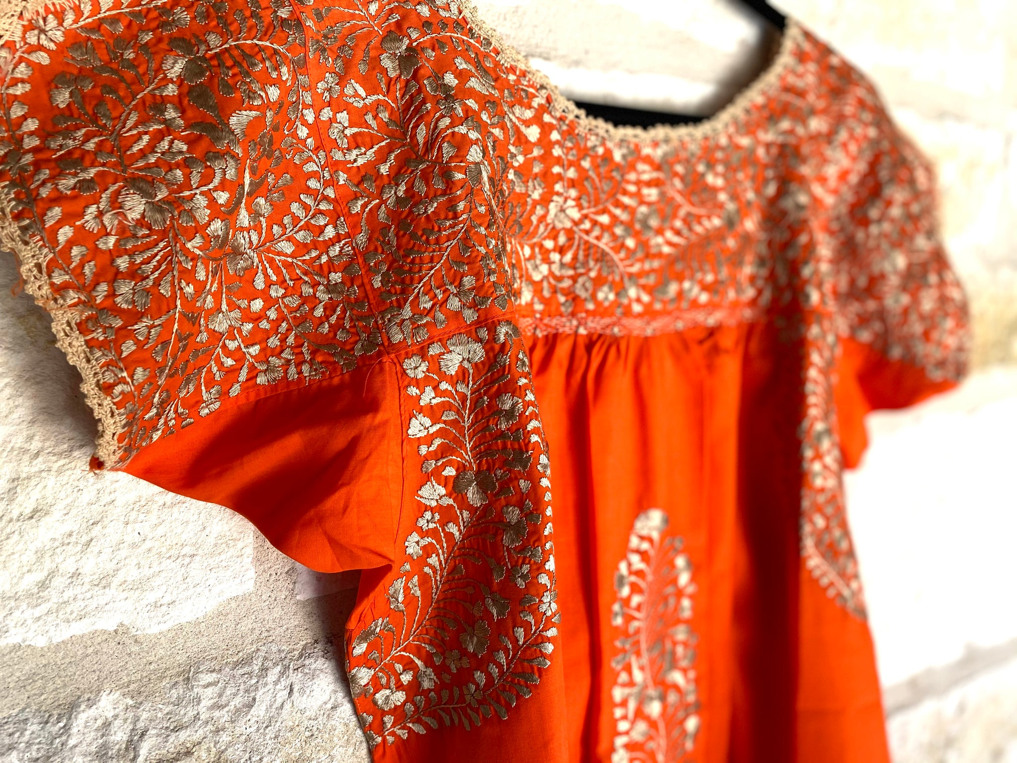 Orange and Gold Short-Sleeve San Antonino Blouse