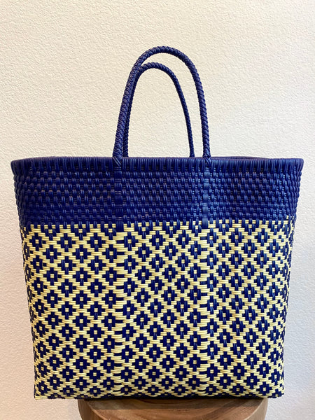 Blue and Yellow Woven Tote