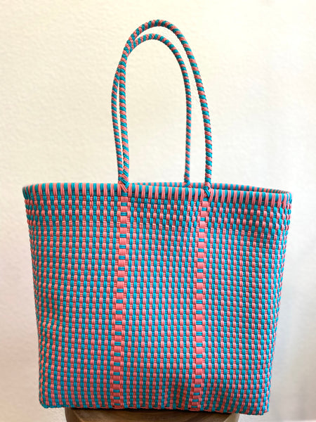 Pink and Mint Green Woven Tote