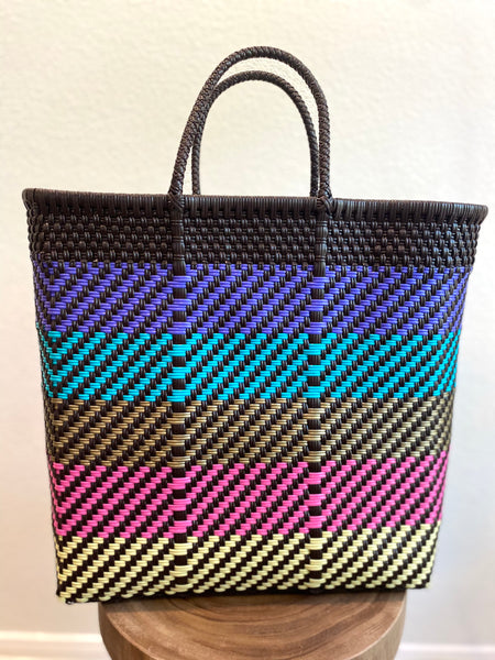 Black with Multicolor Woven Tote