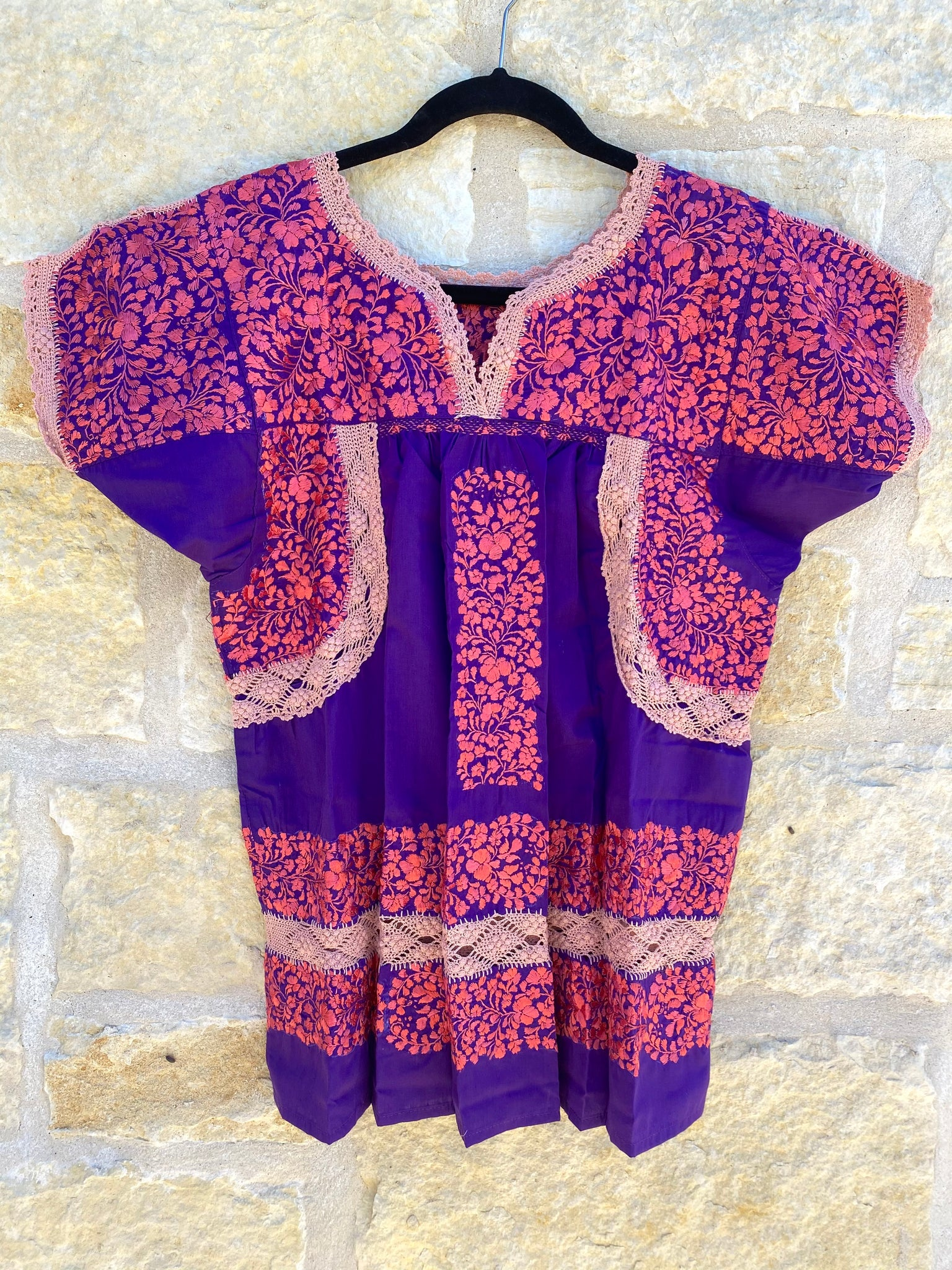 Pink and Purple Deshilado Blouse- S/M