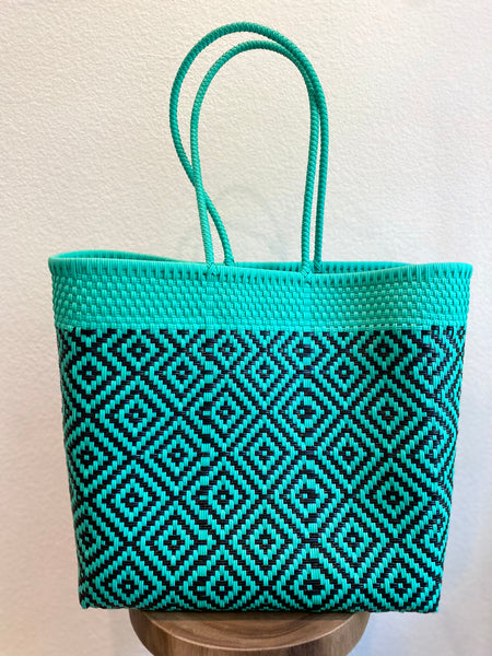 Large Turquoise and Black Woven Tote