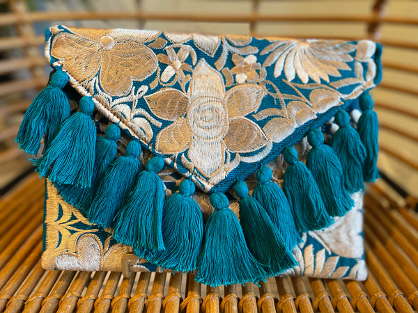 Teal and Champagne Frida Clutch with Tassels