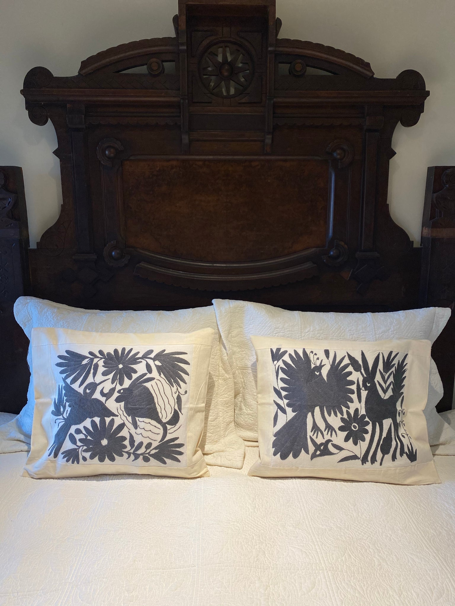 Dark Gray on Off-White Tenango Pillow Case
