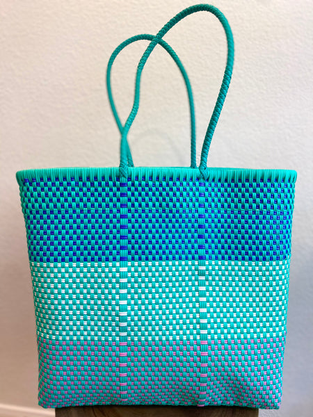 Mint Green, Blue and Pink Woven Tote