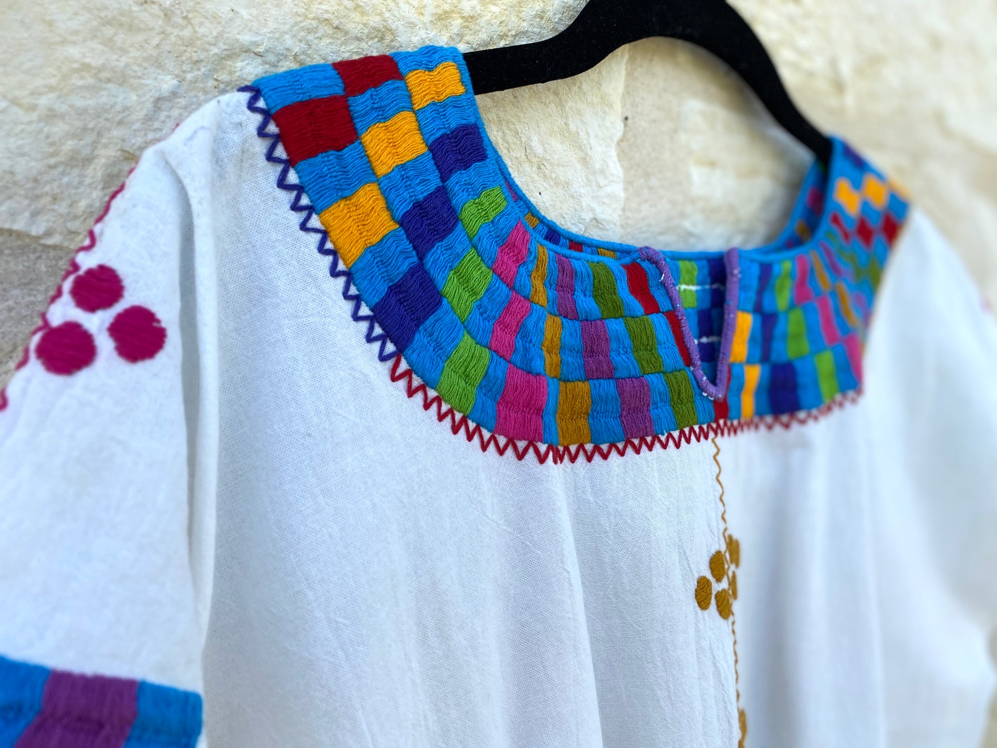 White with Multicolor Chamula Blouse