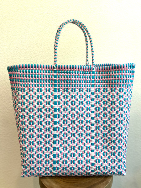 Large Turquoise, Pink and White Woven Tote