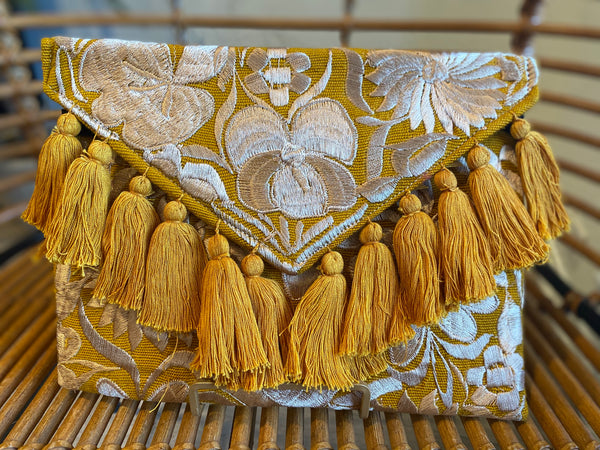 Mustard Yellow and Champagne Frida Clutch with Tassels