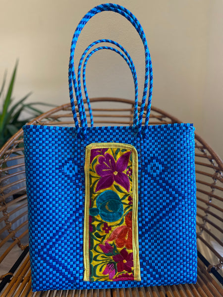 Blue Woven Tote with Embroidery