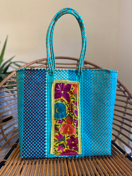 Turquoise/Multi Woven Tote with Embroidery