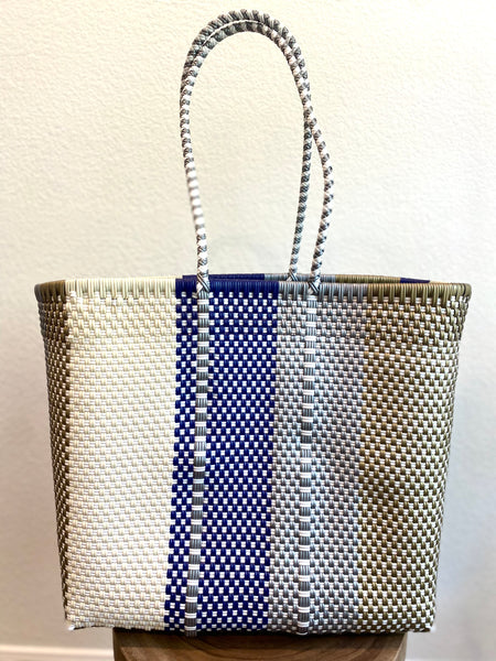 Navy, Cream and Gold Woven Tote