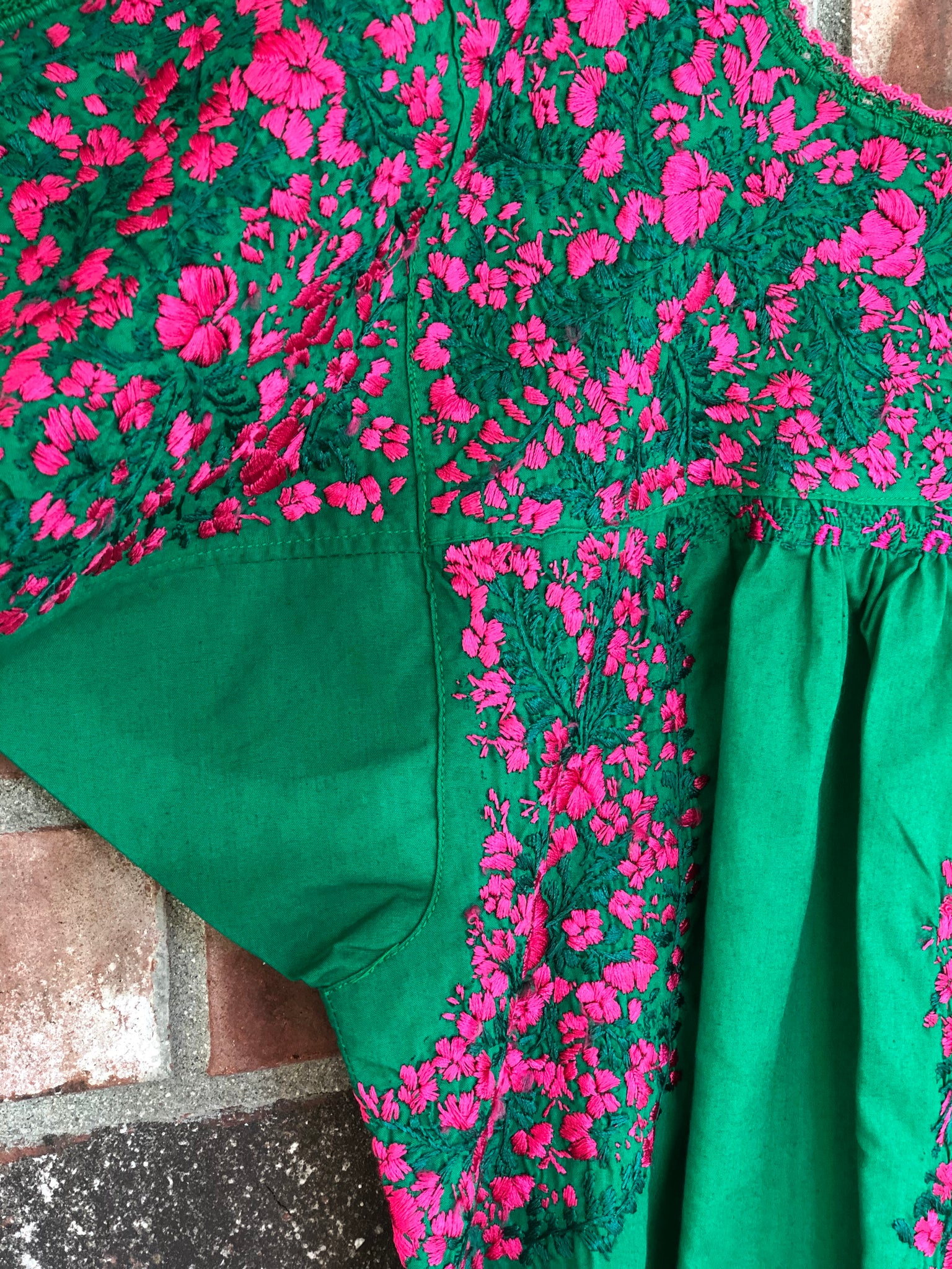 Green and Magenta Felicia Blouse - S