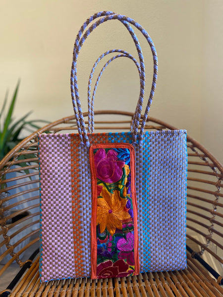 Lavender/Multi Woven Tote with Embroidery