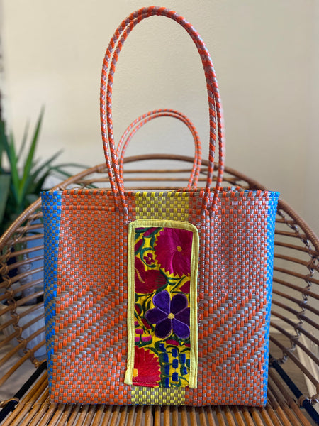 Orange/Multi Woven Tote with Embroidery