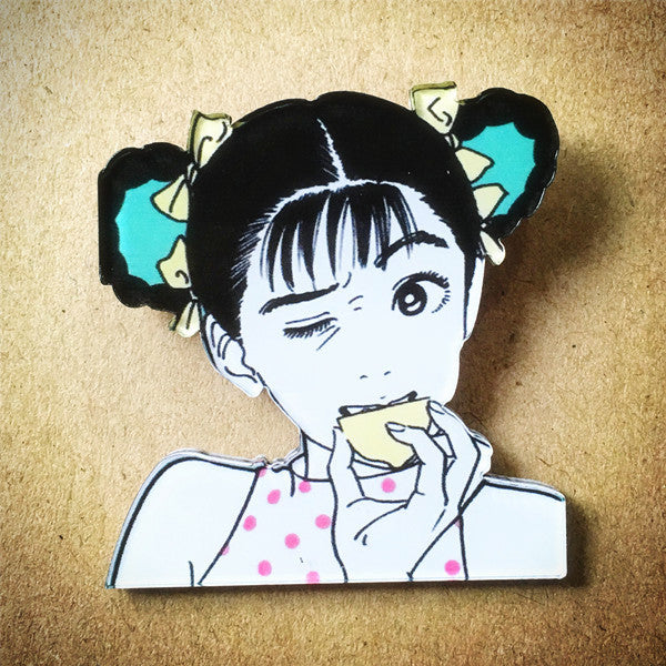 Hisashi Eguchi Vintage Manga Brooch - Lemon Girl - Ice Cream Cake