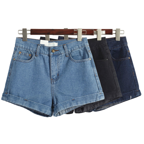 High Waisted Denim Shorts (3 Colours) - Ice Cream Cake
