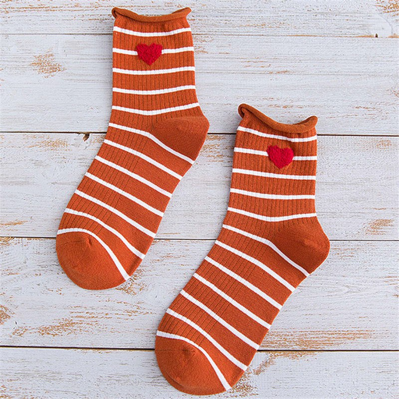 Striped Heart Embroidery Ankle Socks (7 Colours) - Ice Cream Cake