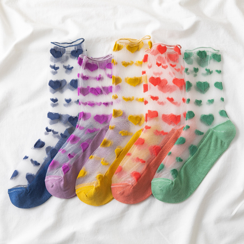 Transparent Heart Pattern Ankle Socks (5 Colours) - Ice Cream Cake