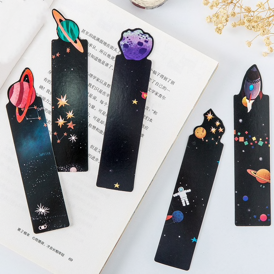 Outer Space Themed Paper Bookmarks (30 pcs) - Ice Cream Cake