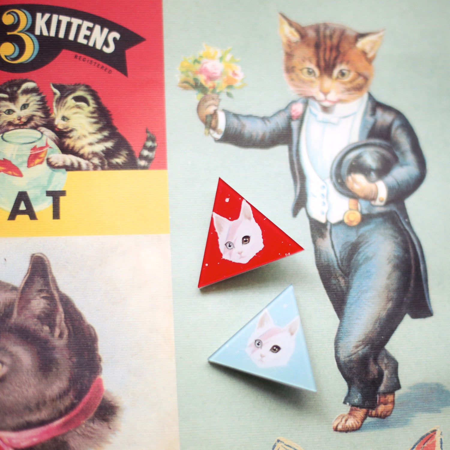 David Bowie triangle kitty brooch - Ice Cream Cake