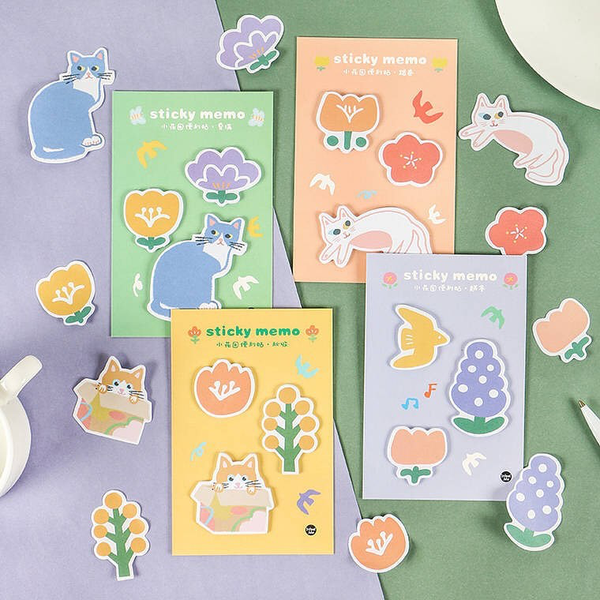 Floral Cat Sticky Memo Notes (4 Designs) - Ice Cream Cake